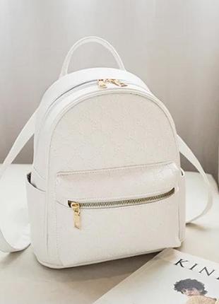 Модный белый рюкзак в стиле гуччи gucci