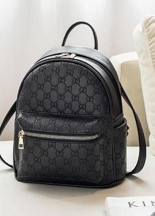 Модный чёрный рюкзак в стиле гуччи gucci