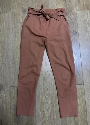 Брюки штаны резинка бант на завязках лен