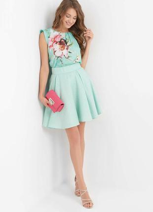 Шикарная мятная юбка orsay с золотыми сердечками!