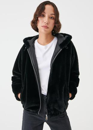 Новая тонкая осенняя пушистая черная куртка искусственный мех капюшон xxs xs s m l xl
