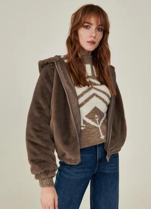 Новая тонкая осенняя пушистая коричневая куртка искусственный мех xxs xs s m l xl