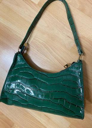 Маленькая сумка через плечо рептилия сумка крокодиловая кожа винтажная сумка-багет