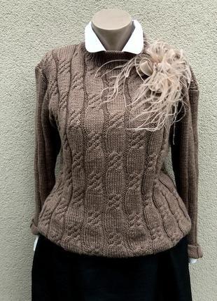 Вязаный свитер,кофта,джемпер в косы,ручная работа