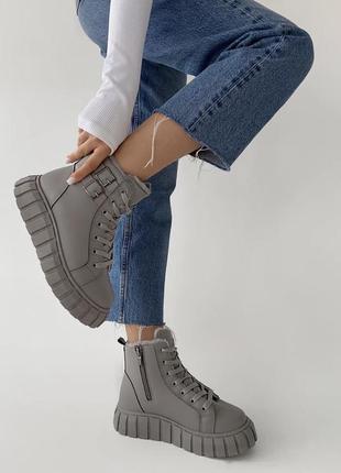 Серые зимние ботинки эко кожа