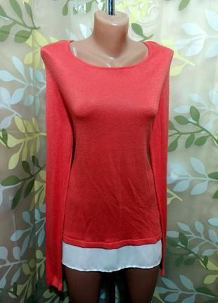 Двойная классическая блуза из мягкого трикотажа с шифоновой нижней оборкой оверсайз