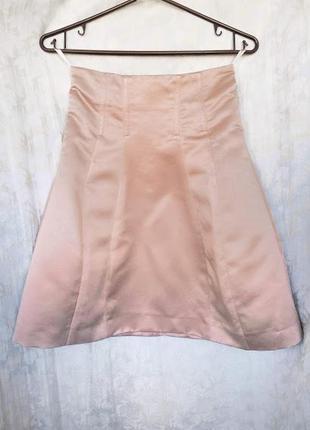 Нежно - розовая атласная юбка h&m! держит форму, на косточках!