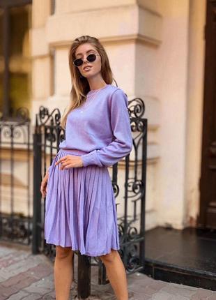 Костюм тёплый вязка, костюм юбка и кофта, 3 цвета