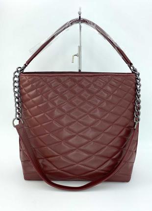 Жіноча сумка з еко-шкіри (марсал). женская сумка стеганая.