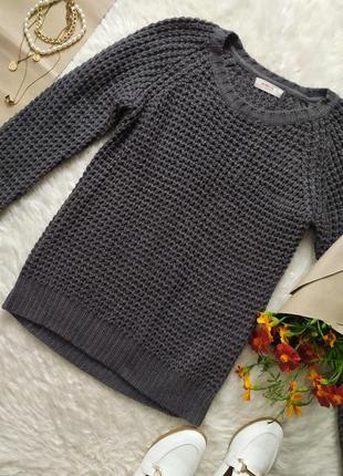 Базовый серый свитер крупной вязки размер m бренд clockhouse