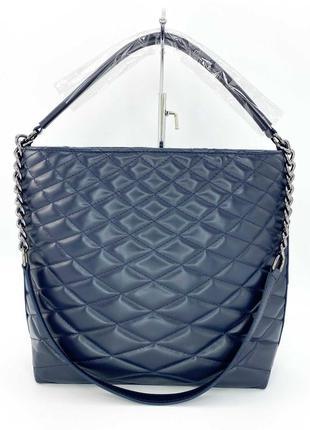 Женская сумка стеганая. жіноча сумка перешита (темно синя).