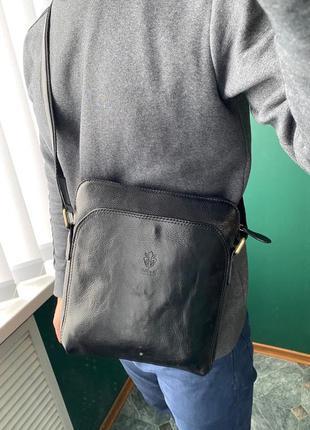 Мужская сумка, барседка,  планшетка из плотной кожи  италия