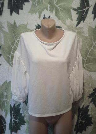 Zara кофта кофточка блуза блузка белая белоснежка с обьем рукав