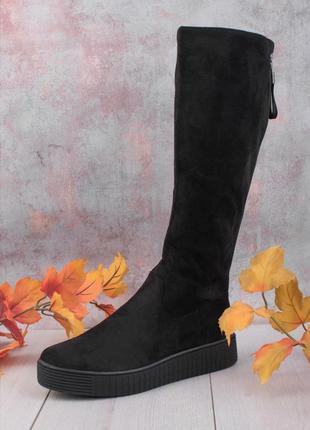 Деми ботинки ботфорты сапоги замшевые до колена