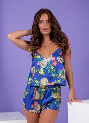 Пижама.шёлковая пижама из топа и шорт с принтом