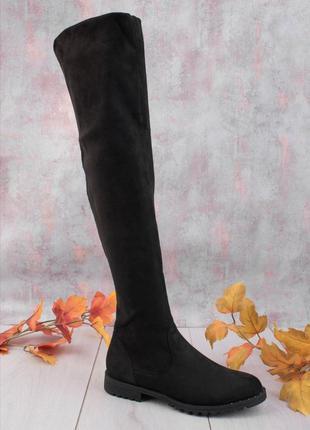 Черные замшевые ботфорты на низком ходу сапоги высокие