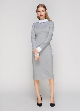 Платье серое с белым воротником и манжетами vero moda размер xs