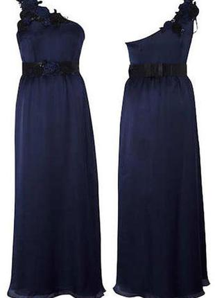 Вечернее платье в пол глубокого синего цвета