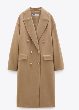 Модное шерстяное пальто zara с золотыми пуговицами🌷