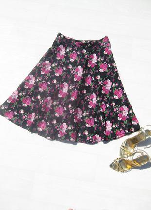 Юбка солнце h&m миди чёрная розовые цветы цветочный принт разноцветная коттон