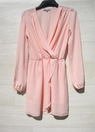 Нежное розовое платье love англия короткое на запах