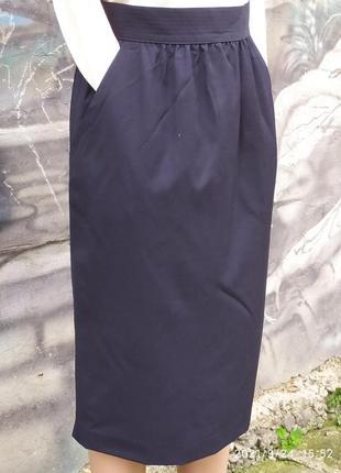 Винтажная юбка 100%шерсть,темно/синяя,карандаш,офисная