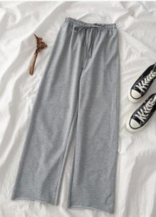 Бомбезные стильные широкие спортивные штаны трубы с высокой посадкой кюлоты