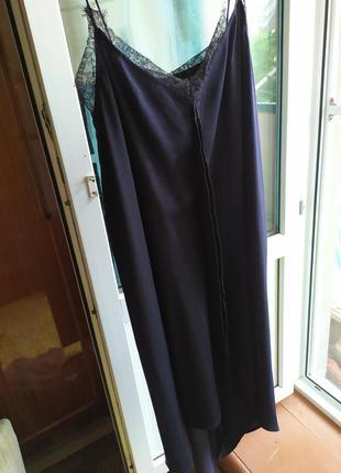 Платье комбинация шелковое с разрезами zara