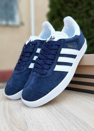 Женские синие кросовки adidas gazelle 38 размер 24 см