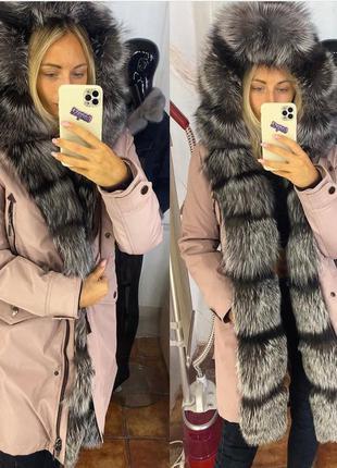 Женская куртка парка 💓с чернобуркой, парка с мехом, xs-xl