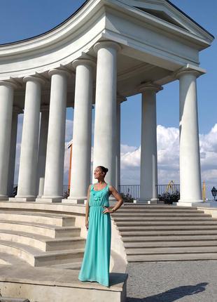 Платье французского бренда soky&soka длинное в пол бирюзовое