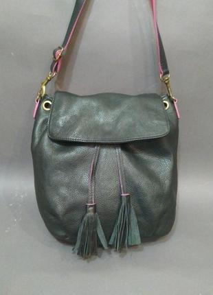 Красивая кожаная сумка на длинном ремне натуральная кожа moshulu