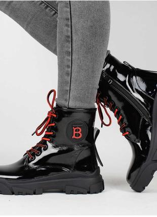 Демисезонные женские ботинки / чёрные / удобные / 36-40 размер / екокожа