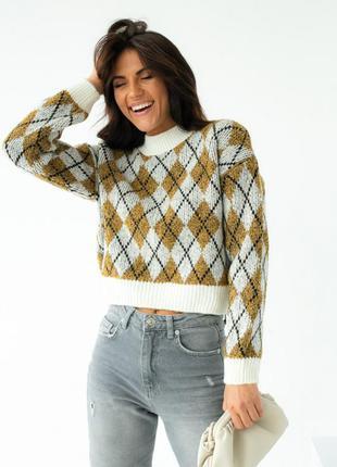 Вязанный свитер ромбами арт.1101