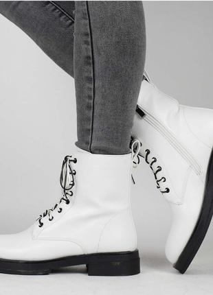 Белое чудо / новинка сезона / женские ботинки из кожи / размеры 36-40р по стельке