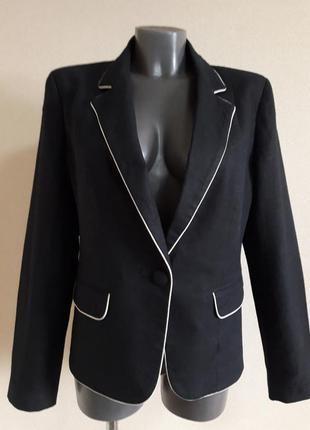 Деловой стильный,полульняной,55%лен,черный пиджак-жакет f&f,c отделкой