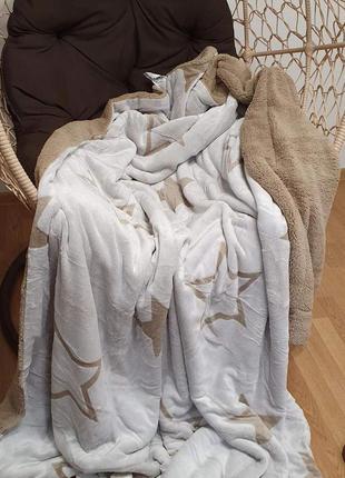 """Двусторонній, м'який, теплий, сучасний плед - покривало """"зірка"""", велюр+овчина"""