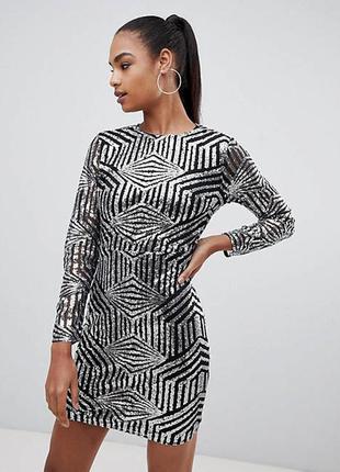 Pretty little thing платье с пайетками серое чёрное серебро по фигуре карандаш футляр