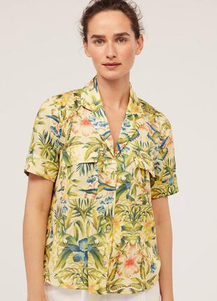 Рубашка в цветочный принт с накладными карманами oysho
