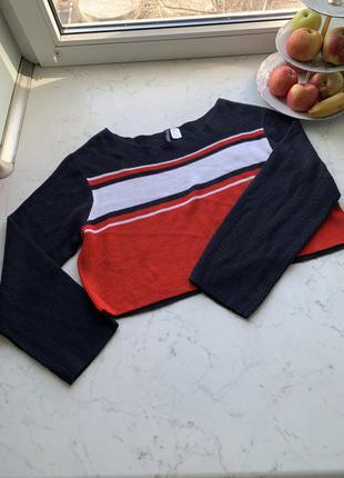 Яркий укороченный свитер h&m divided в стиле оверсайз размер м-l