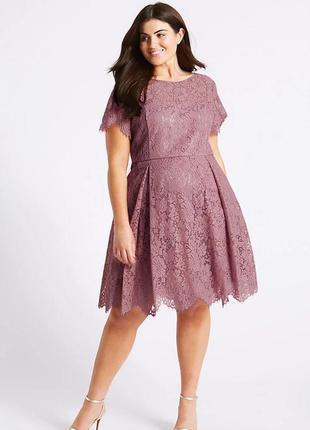 Marks spenser платье персиковое коралловое розовое гипюр кружево новое большое батальное батал