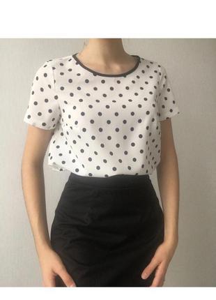 Нежная белая блуза в горошек grand ua, блуза-футболка в горошек, блузка в горошок🏷