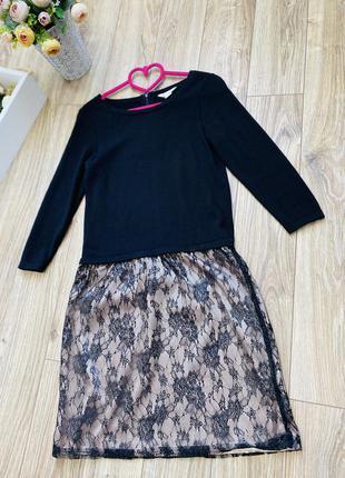 Нарядное чёрное платье шерсть