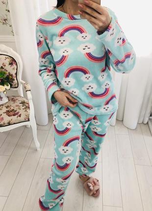 Пижама домашний костюм мятного цвета из нежной мохры травки