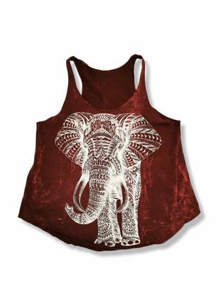 Майка принт слон в этно бохо стиле коттон хлопок