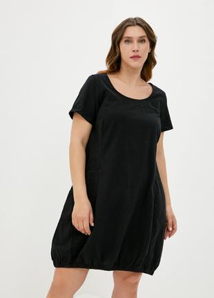 Чёрное платье оверсайз хлопок zizzi