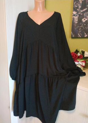 Платье ярусами с длинным рукавом фонарик54/56