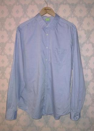 Мужская голубая рубашка с длинным рукавом hugo boss