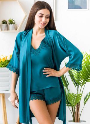 Шелковая изумрудная пижама с халатом, піжама