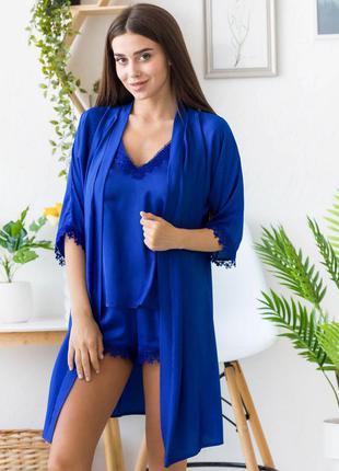 Шелковая синяя пижама с халатом, піжама